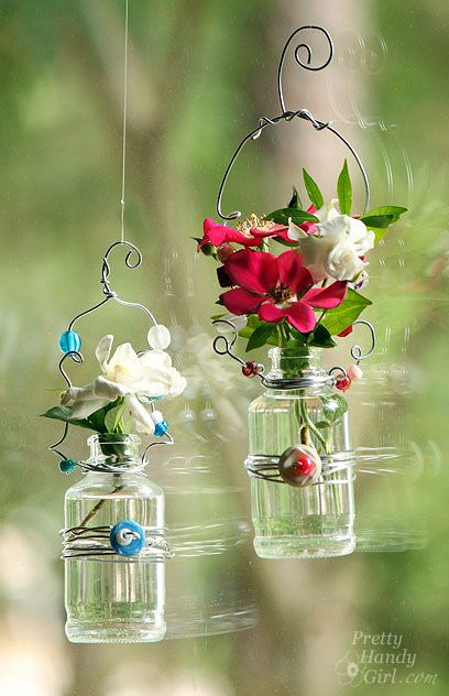 Hanging flower vases made from tiny bottles, buttons and beads - easy and pretty!