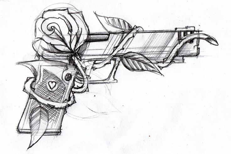 Gun and rose by *SteveGolliotVillers on deviantART I am not usually one for tattoos/art of guns, but there happens to be something so alluring and crisp about this piece that I can't help but be drawn to it/