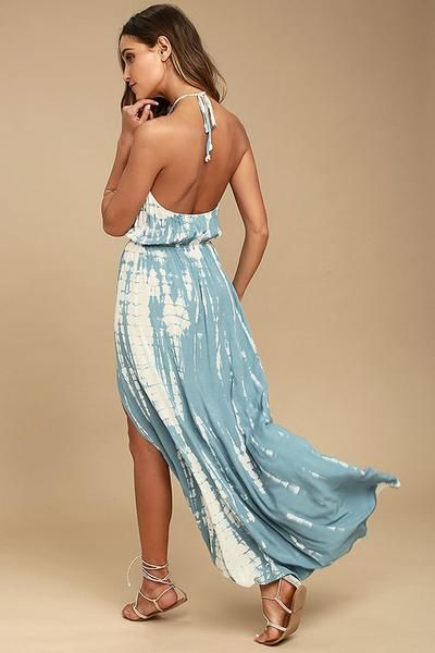 Backless Blue Tie Dye Maxi