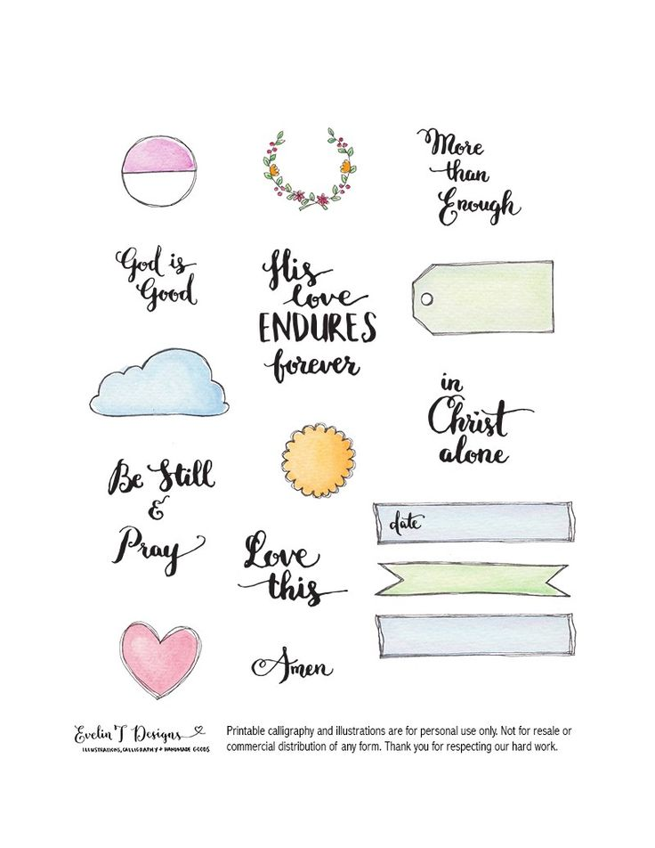 His Love Endures Forever Downloadable Digital Files for your bible journalling, scrapbooking, pocket scrapbooking and planner organizing.  For personal use only. http://www.evelintdesigns.com/his-love-endures-forever.html