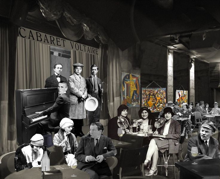 "Hugo Ball al piano, Marcel Janco, Richard Huelsenbeck y Tristan Tzara a punto para recitar el poema simultáneo ""L'amiral cherche une maison à louer"", esta noche Lenin ha venido al Cabaret"