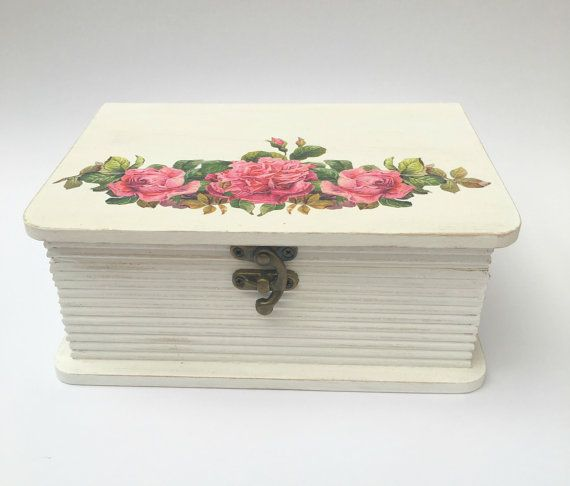 Pink Floral Book Style Box, Storage Box, Make up Box, Jewellery Box, Wooden Box, Jewelry Box, Bathroom Storage, Gift for Women, Box with Lid