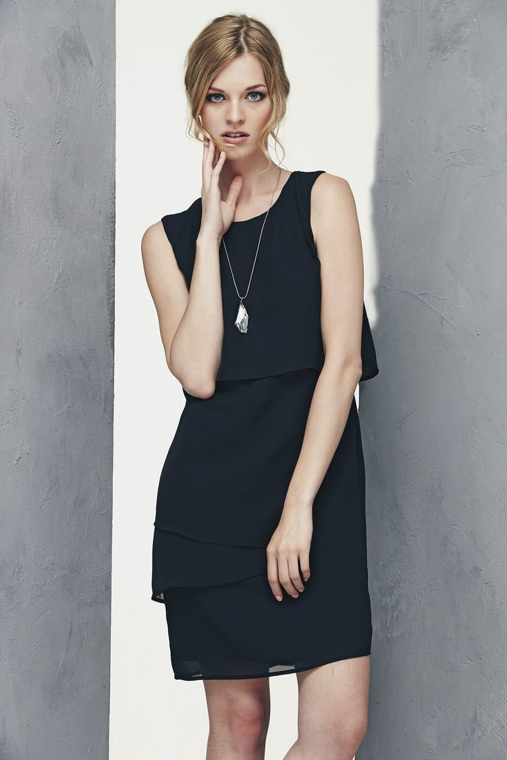 Black voile dress with overlapping frills www.donnedasogno.it