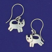 Nickel Silver Playing Cat Dangle Earrings click view details for Sterling
