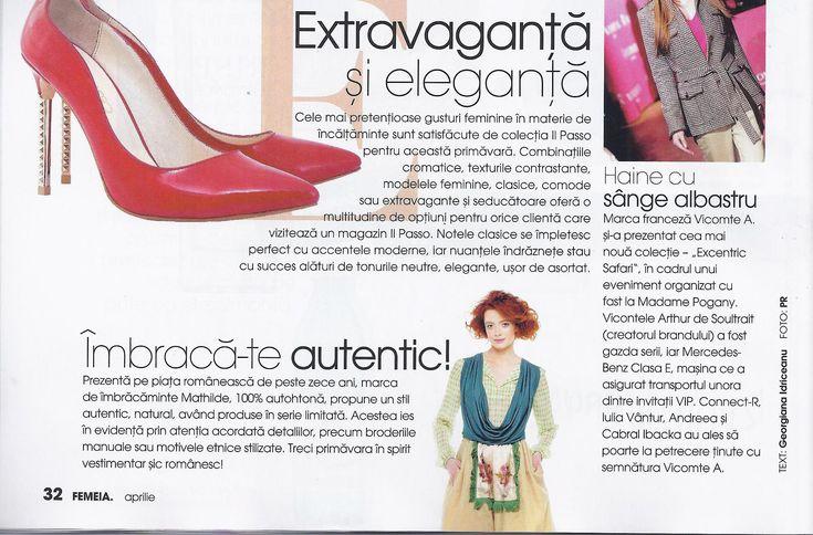 Rochia Roma, se afla in topul recomandărilor revistei Femeia din luna aprilie. Disponibila în magazinele Mathilde si ale distribuitorilor, dar și online pe www.mathilde.ro.