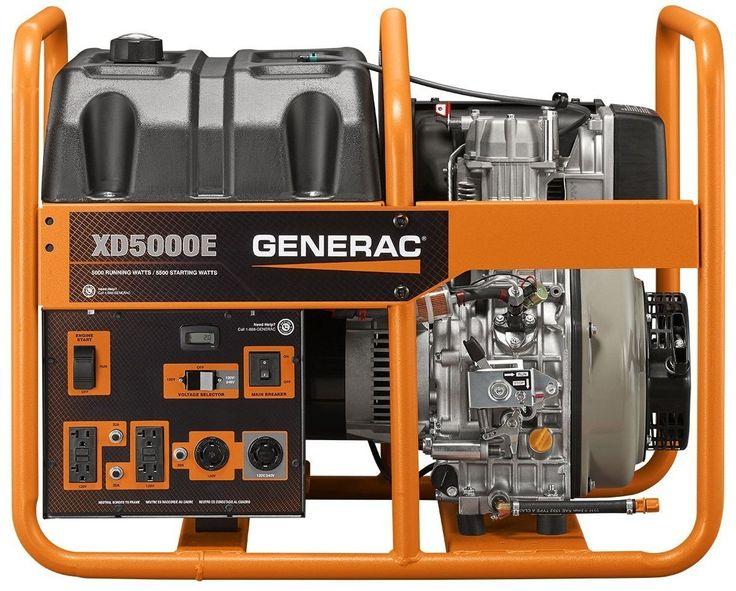 Generac G0068640 Diesel Powered Portable Generator, 5000 W