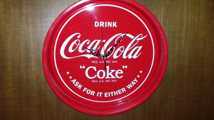 "Tray Wall Clock Metal **COCA COLA Coke** diameter 33cm(13"") X 5,5cm(2,1"") thickness by AlternativeByGeorge on Etsy"