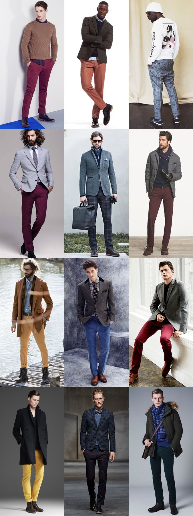 Men's Coloured/Patterned Trousers and Chinos Autumn/Winter Outfit Inspiration Lookbook