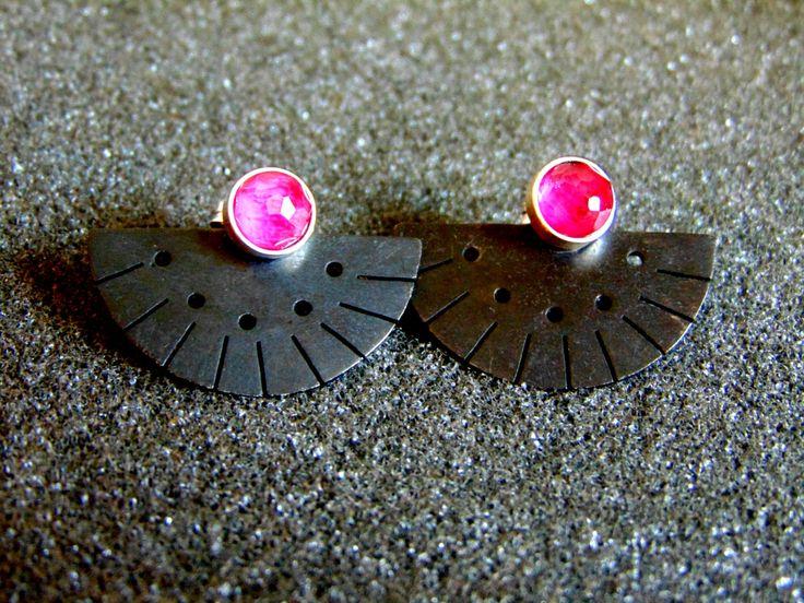 Beautiful sterling silver, oxidized silver and pink tourmaline earrings-Women's screw back earrings-Geometric women's earrings-Greek art by ArchipelagosBreeze on Etsy
