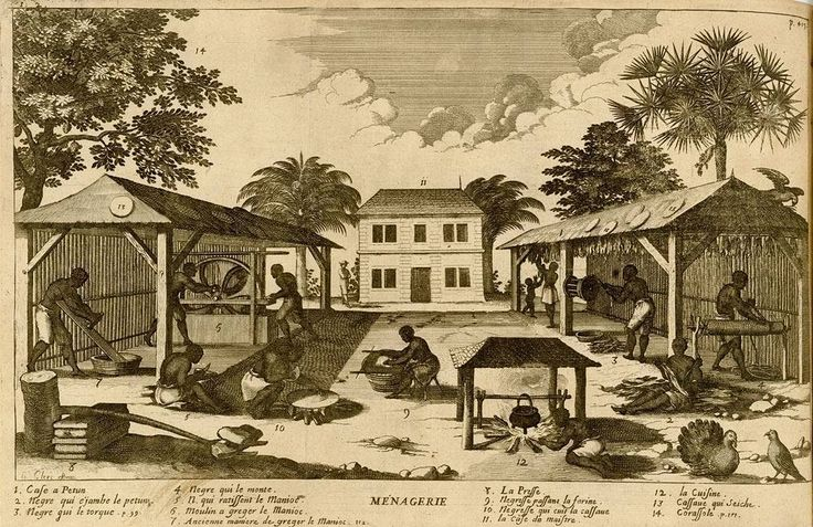 Tobacco and Manioc/Cassava Preparation French West Indies 1667 via slaveryimages.org  Image Reference  NW0011  Source  Jean Baptiste DuTertre Histoire Générale des Antilles habitées par les Francois (Paris 1667) vol. 2 p. 419. (Copy in the John Carter Brown Library at Brown University)  Comments  Titled Ménagerie the engraving illustrates the yard of a large farm or plantation showing various steps in the processing of tobacco and manioc with enslaved men and women performing the tasks. The…