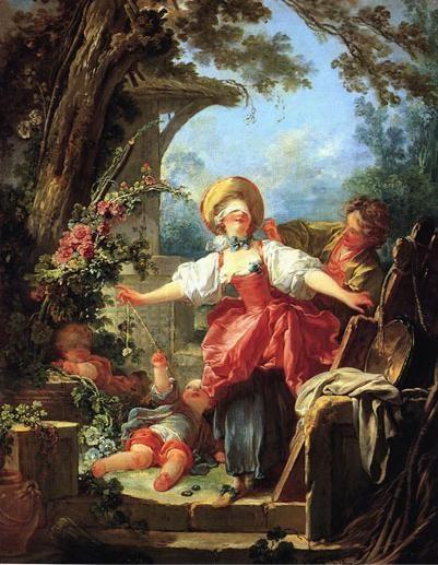 프라고나르(Jean Honore Fragonard)의 까막잡기 놀이(Blindman's Buff) / 1753-1756 / 톨레도 미술관 프랑스 로코코 미술의 마지막 대가 프라고나르의 작품. 눈을 가리고 까막잡기 놀이를 하는 여성의 모습을 통해, 눈 먼 사랑, 즉 맹목적으로 짝을 찾아 헤매는 연애의 과정을 보여주고 있다. 술래가 눈가리개를 하고 다음 술래가 될 사람을 더듬어 찾는다는 점에서 까막잡기 놀이는 에로틱한 측면 또한 가지고 있다. 사랑을 하나의 재밌는 놀이와 게임으로 표현했고, 이는 해맑고 밝아보이는 여성과 그녀의 손짓, 그리고 부드러운 색채의 사용등으로 묘사되었다.