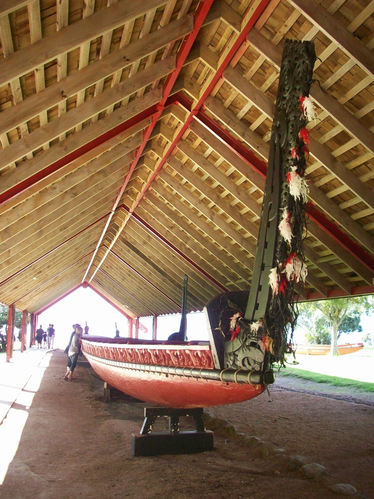 A Maori waka at the Waitangi Treaty Grounds. This is where the official treaty was signed between the British Crown and the Maori. Waitangi is considered the birthplace of New Zealand as a nation.