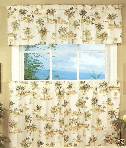 kitchen curtains tiers and swags | Spice Island Palm trees 24L tier ...