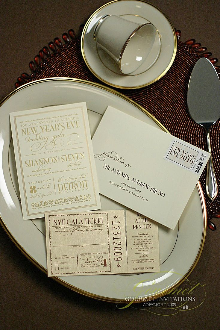 Our Gala New Yearu0027s Eve Wedding Invitations Were Designed To Look Like A  Royal Invitation With