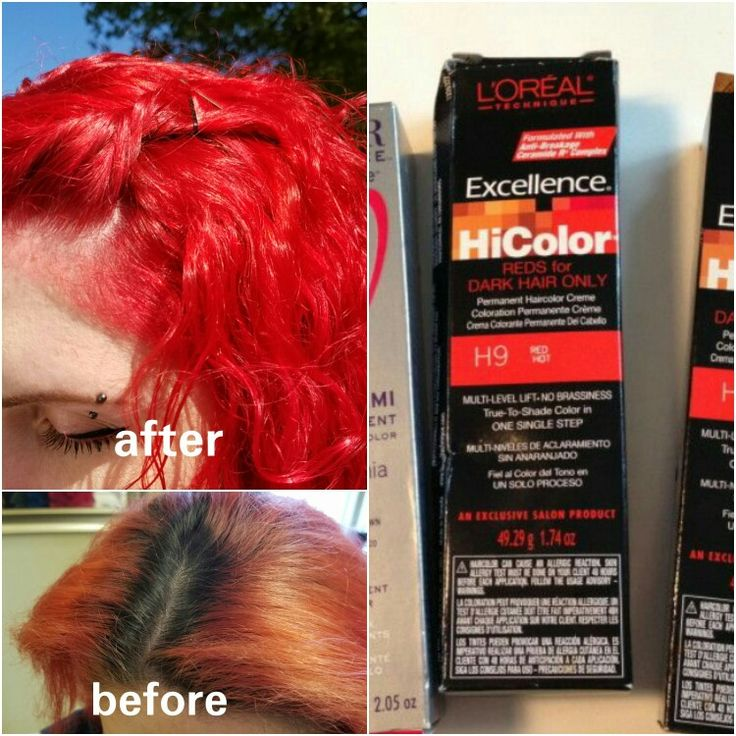 LOREAL HiColor Red (for dark hair only) I use this on my dark roots [mix 2:1] and then whatever red i choose for the ends and it all processes together in one easy step! LOVE this stuff