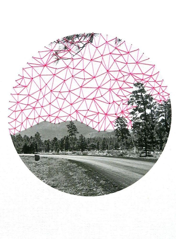 Pink Sky- neon pink and green threads on heavy weight paper