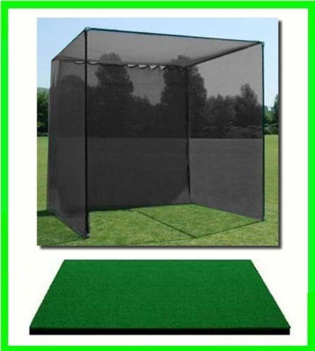 Golf Mat, Golf Net Cage, 10'x10'x10 Golf Net Golf Cage and 3'x5' Commercial Golf Mat. Our Dura-Pro 10'(d) x 10'(h) x10'(w) Golf Cage Golf Net Comes With High Velocity Strong Impact Golf Netting and a High Impact Double Back Stop and Target Plus a 3' X 5' Commercial Golf Mat Free Ball Tray/Balls/Tees/60 Min. Full Swing Training DVD/Impact Decals & Correction Guide With Every Order!