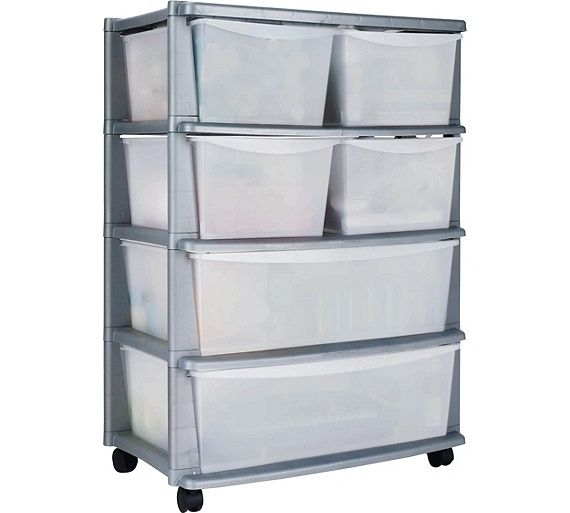 Buy HOME 6 Drawer Plastic Wide Storage Tower Unit - Silver at Argos.co.uk, visit Argos.co.uk to shop online for Plastic storage boxes and units, Storage, Home and garden