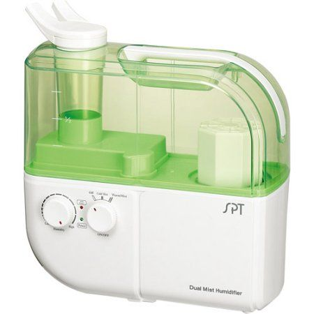 Sunpentown Dual Mist Humidifier with ION Exchange Filter, White