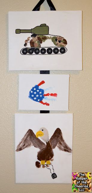Support Our Troops- Military Footprint and Handprint Craft, Tank Footprint, Eagle Footprint, Flag Handprint