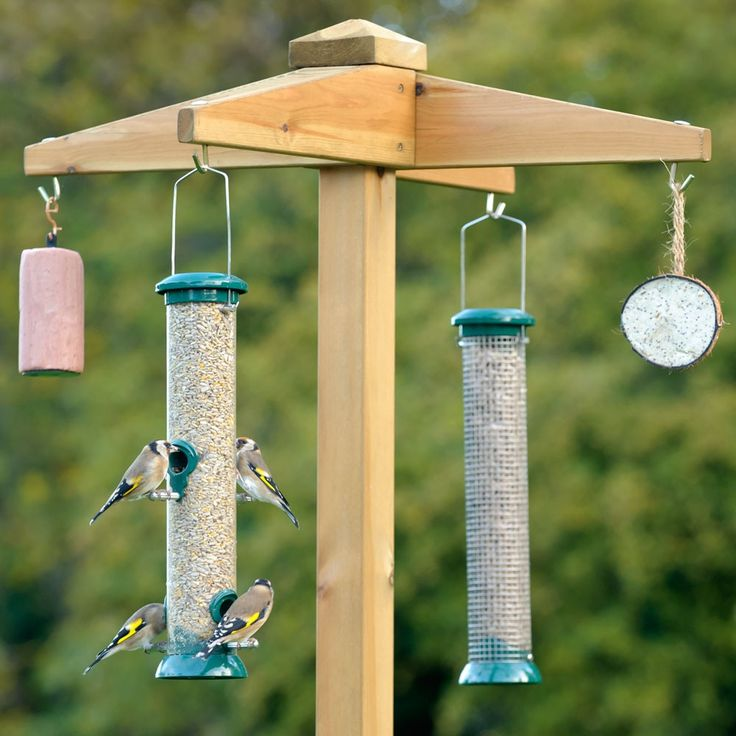 wooden hanging bird feeders