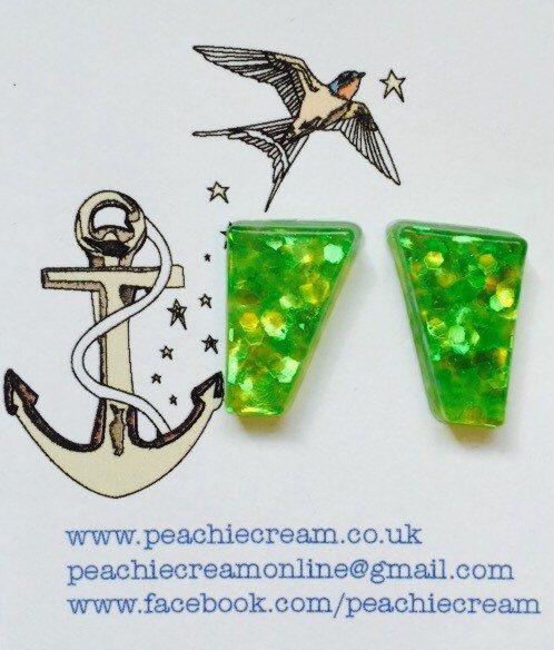 Lime green glitter resin earrings by PeachieCreamOnline on Etsy https://www.etsy.com/listing/236476184/lime-green-glitter-resin-earrings
