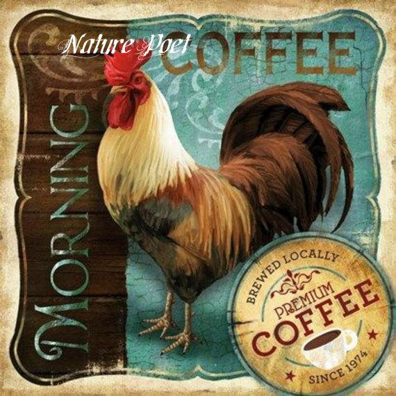 Vintage Coffee Label with Rooster Reproduction Print by naturepoet, $4.50
