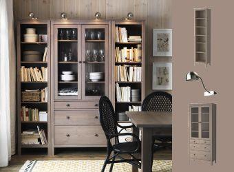Grey Brown Hemnes Bookcases And Glass Door Cabinet With