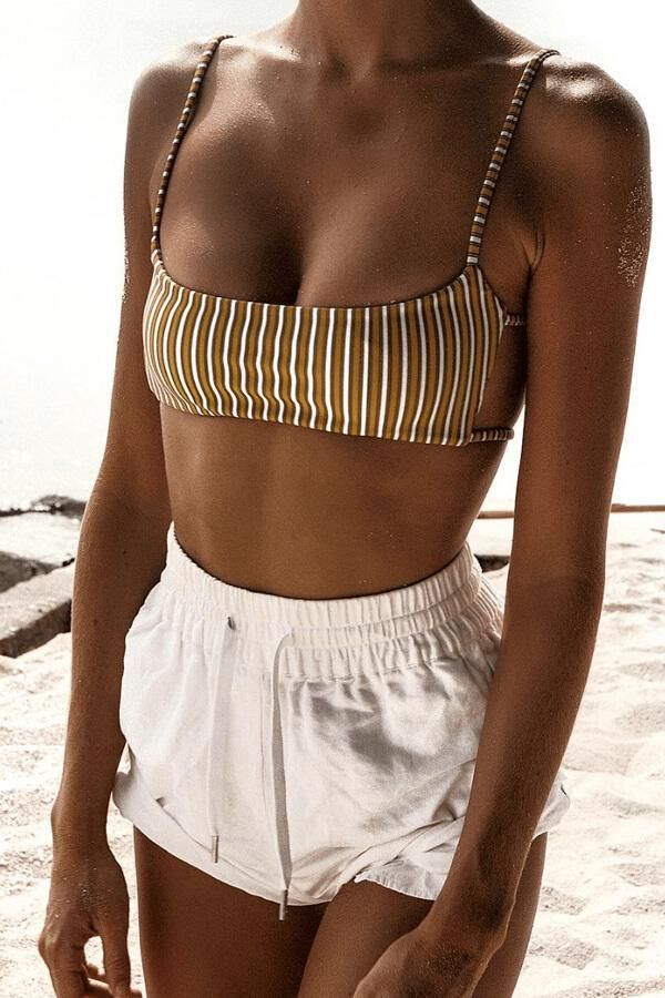 49c9a5b285614 Floralkini Vertical Striped Spaghetti Strap High Leg Bikini Set ...