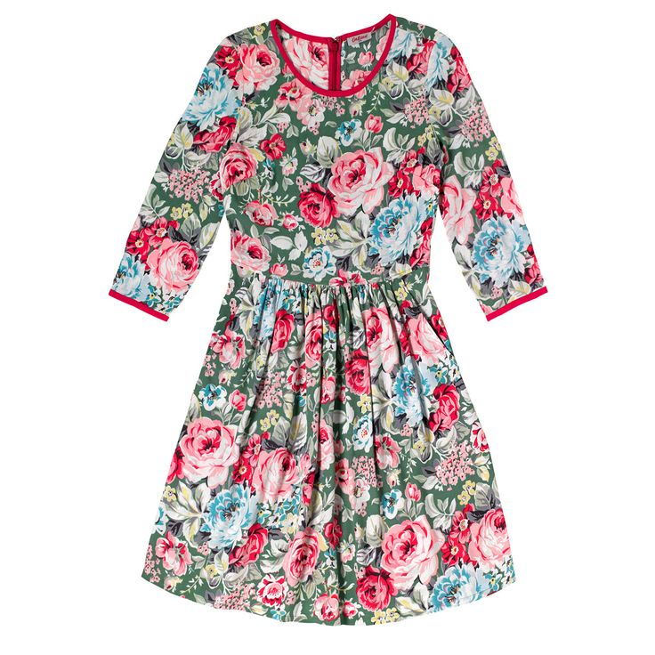 Greenwich Rose Contrast Detail Crepe Dress | Cath Kidston |