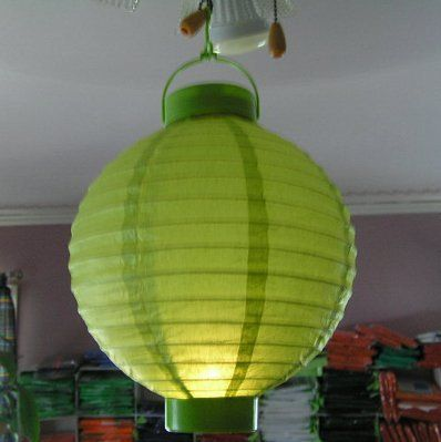 """Asian Light Green Battery Operated 8"""" Paper Lantern by Garden Collection. $24.99. These are great for parties and Weddings"""