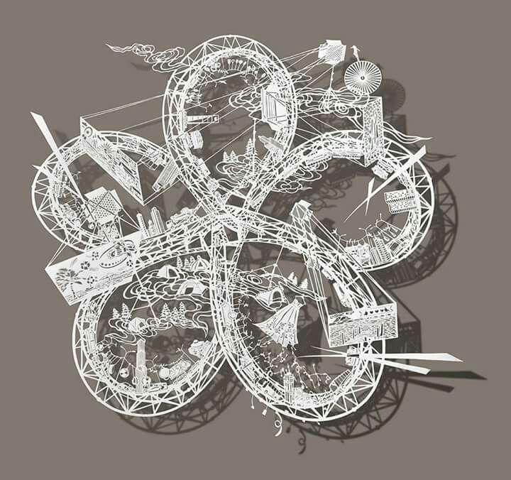Bovey Lee - paper cut twisting roller coasters.