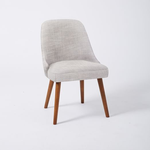 Mid Century Upholstered Dining Chair, Platinum Linen Weave