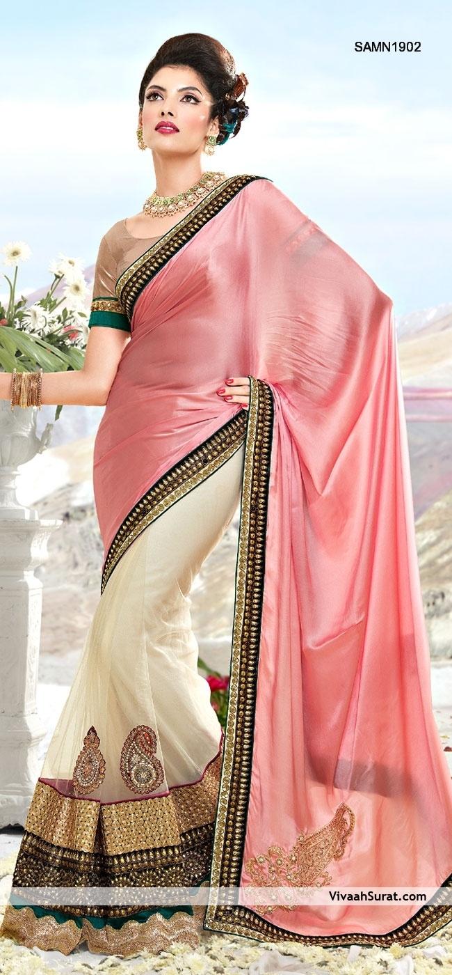 Alluring Pink Half And Half Saree