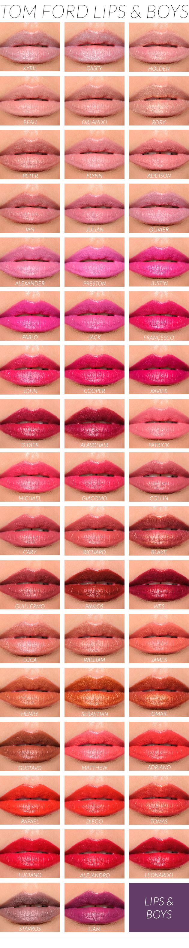 Tom Ford Lips & Boys Lip Swatches Gorgeous makeup/ False lashes/ Sexy Look/ Makeup Tutorial/ Makeup Ideas/ Foundation/ Eyes/ Lips