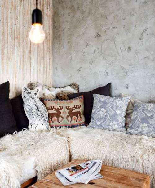 Rustic Mountian Decorating, Lodge look, cabin and ski style - two crib mattresses covered with cream velour crib sheet and fur rugs thrown over the top?: