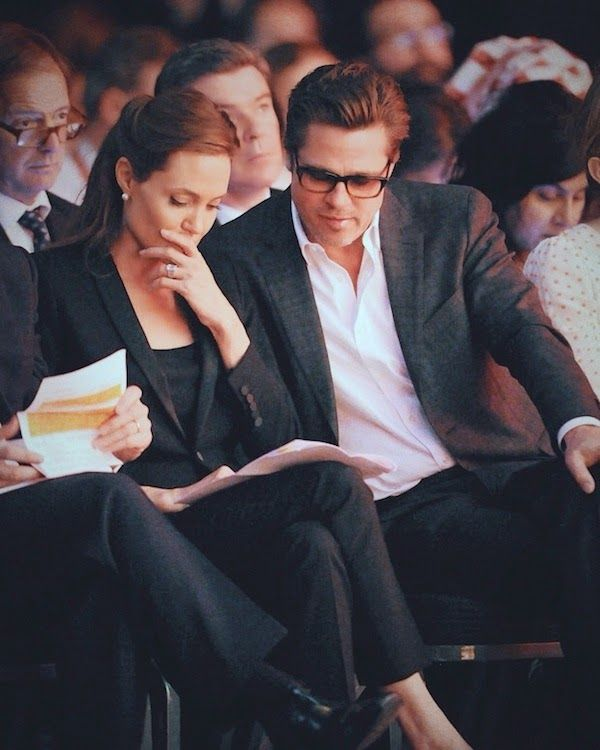 Brad Pitt in Salvatore Ferragamo grey check suit - William Hague - Angelina Jolie - Global Summit to End Sexual Violence in Conflict - London - June 2014