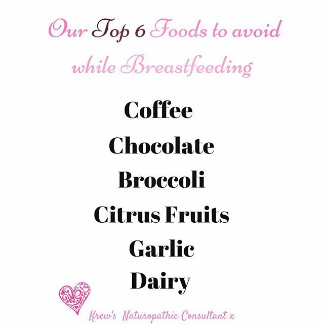 Our in house Naturopath  has created a list of her top 6 foods to eliminate when trying  to help increase milk supply and settle an unsettled baby. Share with us any food culprits you've had to cut from your diet to help increase your milk supply or settle little babes tummy... #mumlife #brestfeeding #active #krewactive #blogger #fitmom #newmom #activewear #baby #reflux #baby #newborn #lactation #