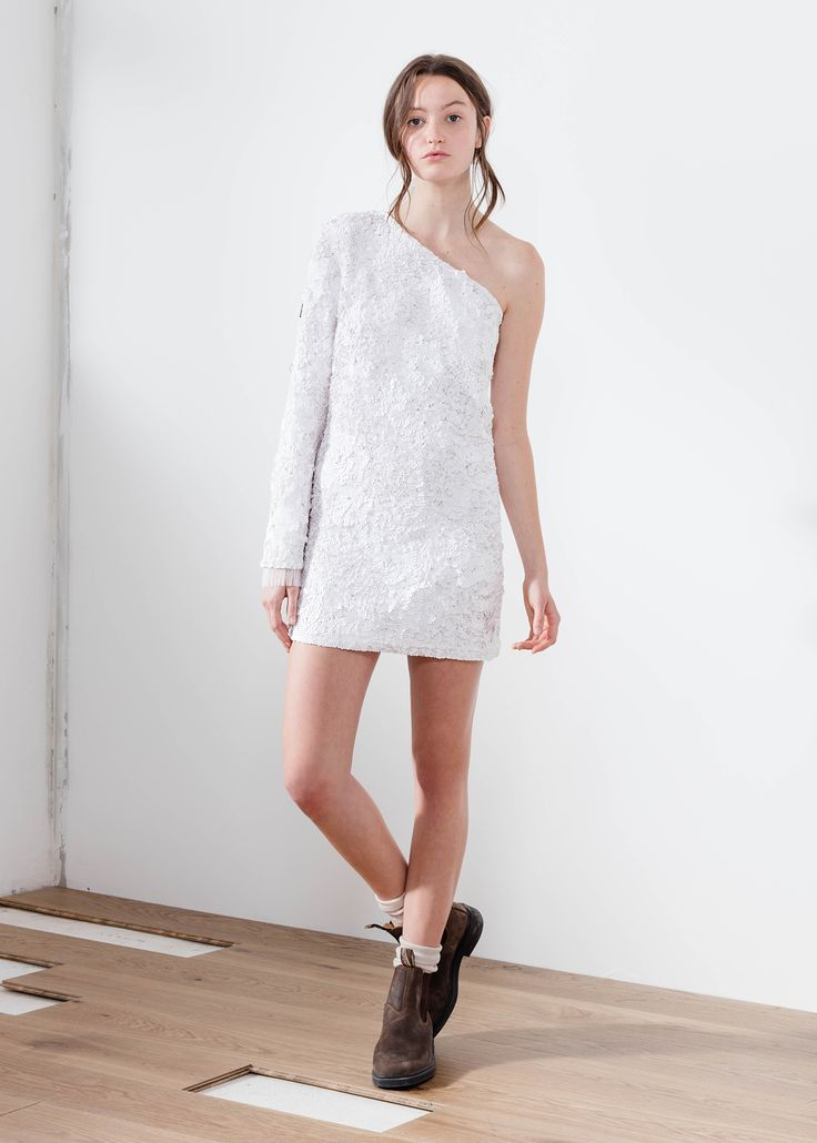 Aje matte white sequin shift dress one shoulder constellations.   #AjeTheLabel #Fashion #Style #Lace #BroderieAnglaise #Embroidery #Frill #Sequins #Texture #Exclusive #Summer17 #EdwinaRobinson #AdrianNorris #White #Chambray #Navy #Nautical #LaDolceVita #Travel #Inspiration #