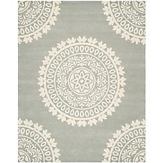 Bella Grey / Ivory 8 Feet X 10 Feet Area Rug