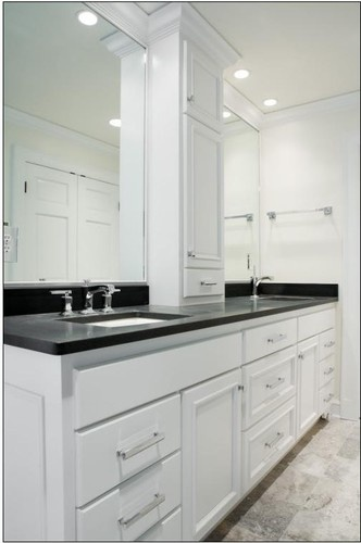 Not In White Maybe Light Grey Double Sink Vanity W Center Tower Master Bathroom Vanity