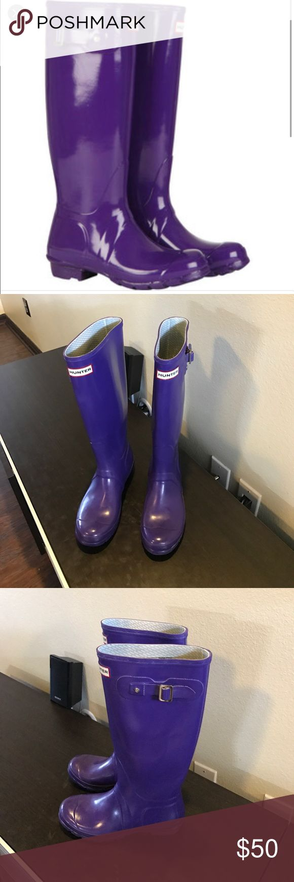 Authentic Hunter Boots purple rubber rain boots 7 Authentic Hunter Boots tall purple rubber rain boots 7 Euro 38 good condition light wear light scuffs light wear on bottom heels and insole have light wear Hunter Boots Shoes Winter & Rain Boots