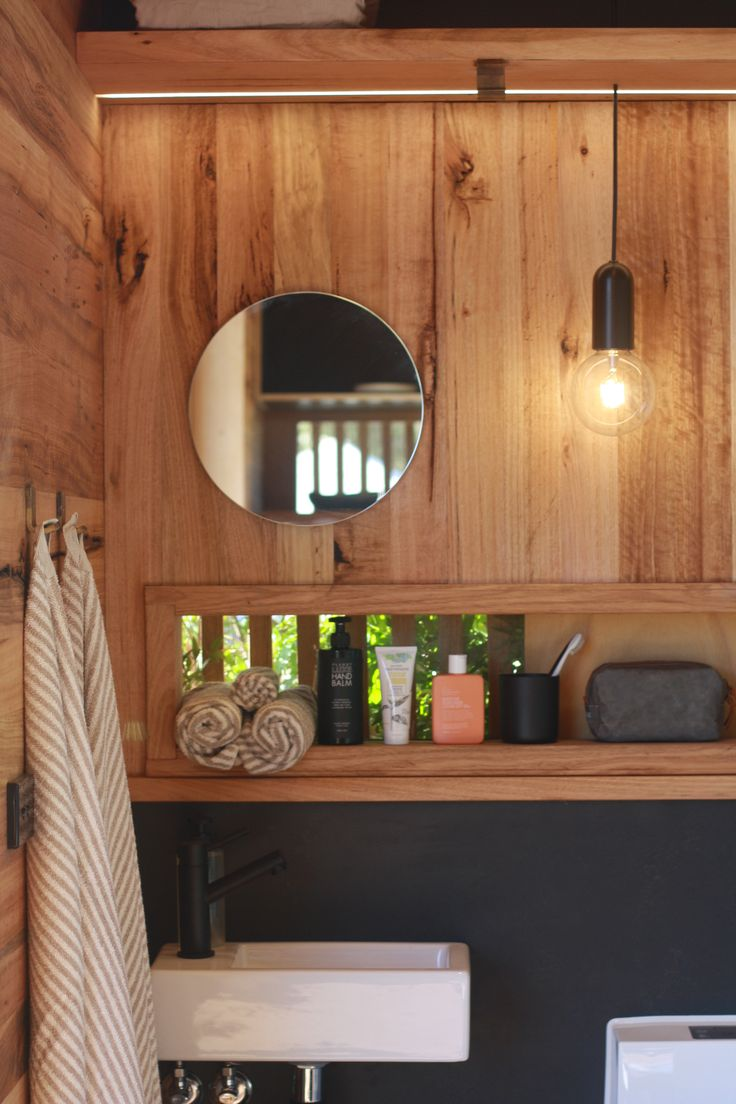 Bathroom detail from the self-sufficient & transportable Nomad Pod by JAWS Architects.  Visit our website for more information.