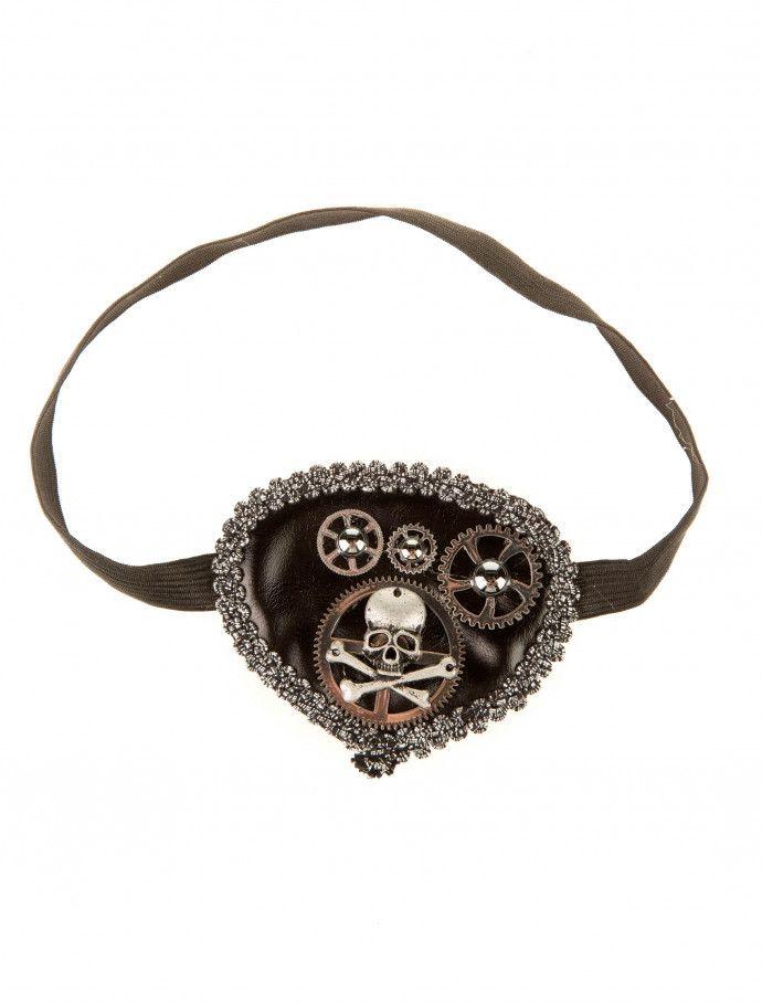 Augenklappe Steampunk mit Totenkopf silber | Deiters | Kostüm | Karneval | Fasching | Outfit | Mottoparty | Steampunk | Accessoires