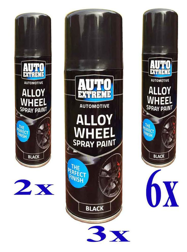new 6 alloy wheel spray can restorer car bike auto spray paint black. Black Bedroom Furniture Sets. Home Design Ideas