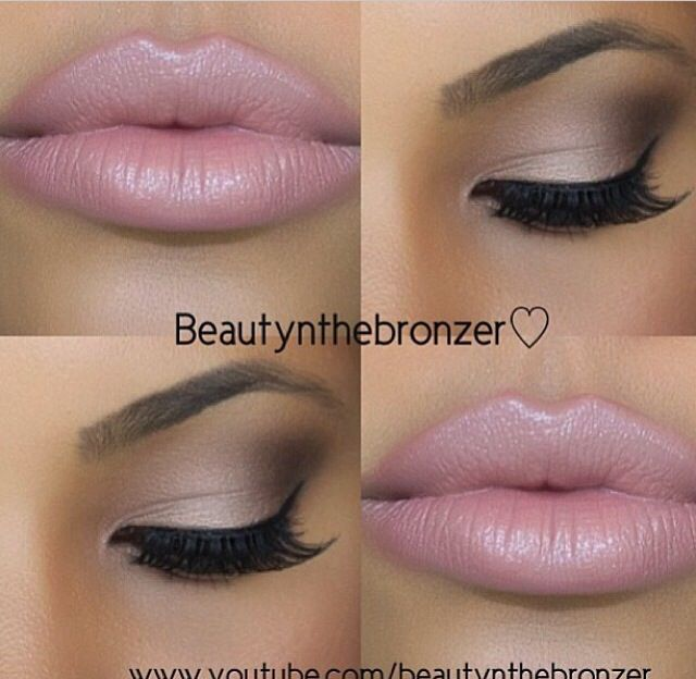 Pale pink pearl lips and soft smokey eyes♥