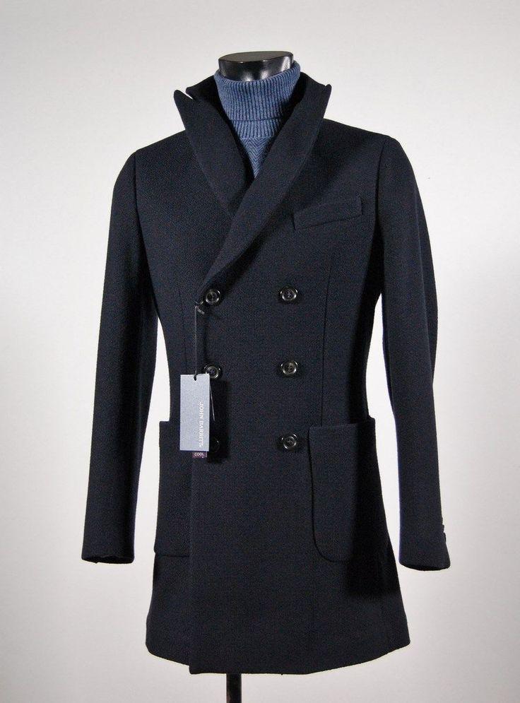 Cappotto moda blu john barritt doppio petto slim fit