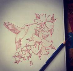 Lilies & a hummingbird sketch