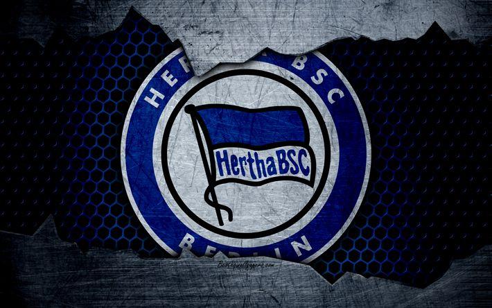 Lataa kuva Hertha, 4k, logo, Bundesliiga, metalli rakenne, jalkapallo, Hertha BSC