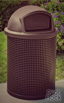 Trash Receptacle Model CN-R/RW-32 round perforated steel trash receptacle holder for 32 gal. containers, brown thermo-plastic coated. Shown with option brown plastic dome lid. #pilotrock #trashbin
